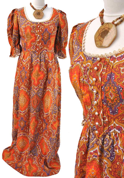 vintage 60s orange psychedelic maxi dress by bernshaw