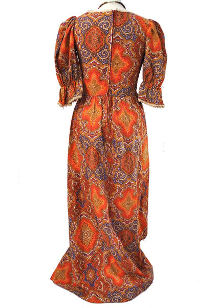 1970s Vintage Orange Psychedelic Boho Maxi Dress • Puffed Sleeves • Festival Dress