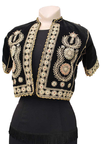 Antique Ottoman Bolero Metallic Gold Emboidery on Black Velvet