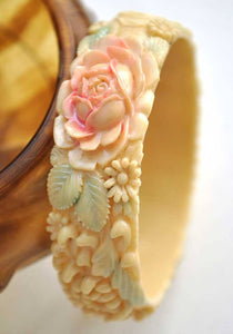 1930s Vintage Deco Painted Celluloid Floral Elephant Bangle