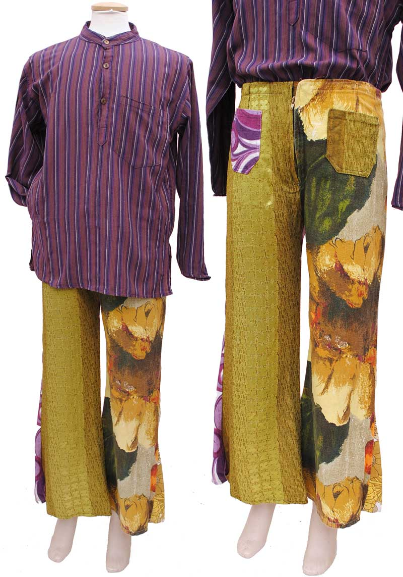 hippie flower power flared patchwork trousers pants made from yellow floralbarkcloth