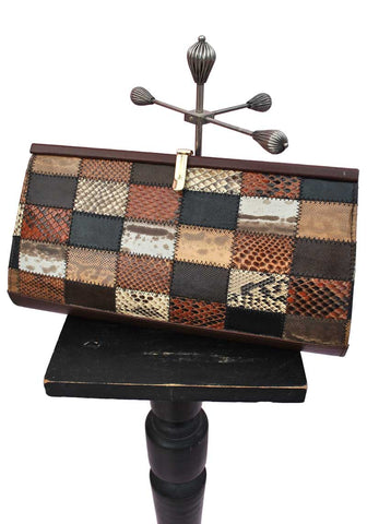 vintage patchwork snake skin clutch bag, evening bag