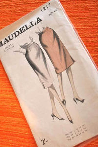 1950s Vintage pencil Skirt sewing pattern Maudela 1217