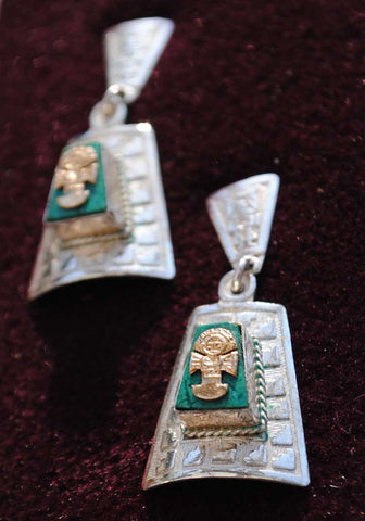 sterling silver marked 950 aztec peru dangle earrings with malachite and gold inca gods