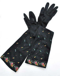 vtg black embroidered elbow length evening gloves