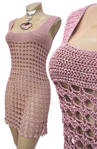 60s pink crochet mini dress, go-go dress
