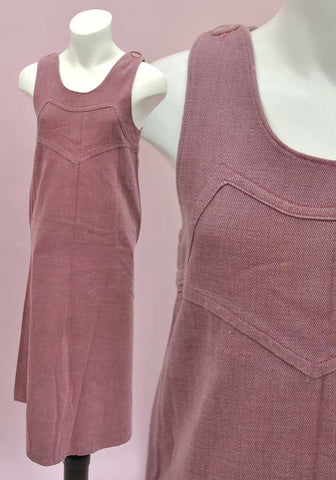 vintage 70s brushed denim pinafore dress for girls