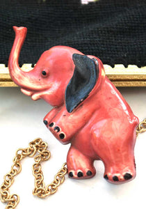 vintage 40s celluloid elephant brooch