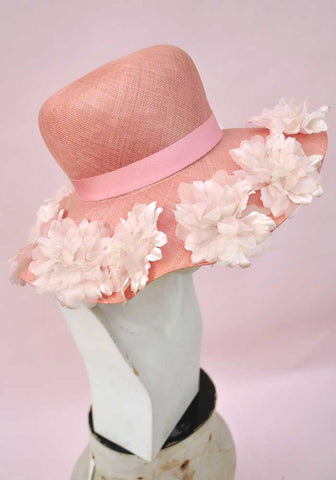 Vintage 60s Pink Straw Floppy Wide Brim Hat with Flowers • Wedding Hat