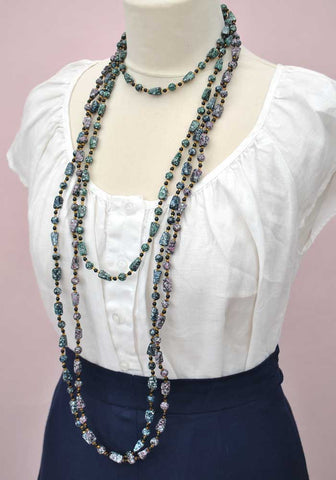 purple hippy beads necklaces