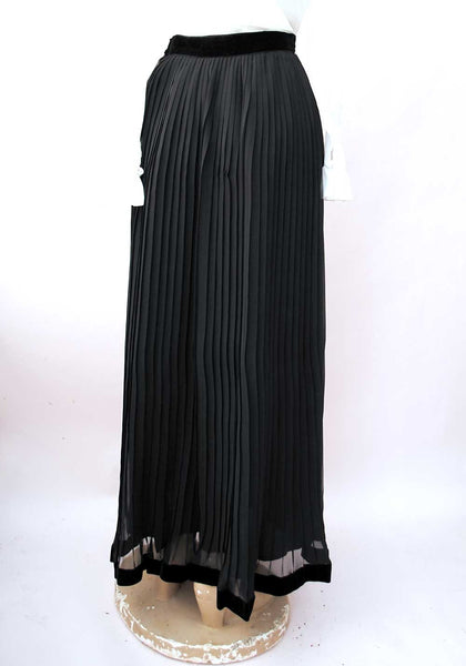 1960s Vintage Sheer Black Pleated Evening Skirt with Velvet Edging