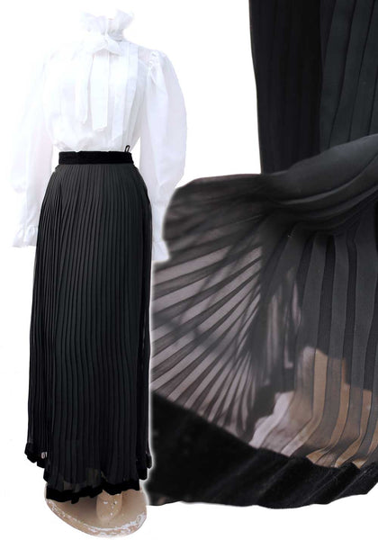 gorgeous black pleated chiffon evening skirt, gothtastic with black velvet ribbon at the waist and hem