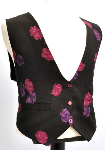 Mens black low front vintage waistcoat with a printed rose pattern