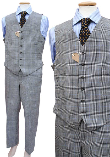 1960s Men's Vintage Grey Prince of Wales Check 2 Piece Suit 40 Chest