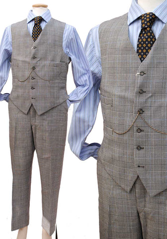 prince of wales check waistcoat and trousers in grey plaid for 40 inch chest