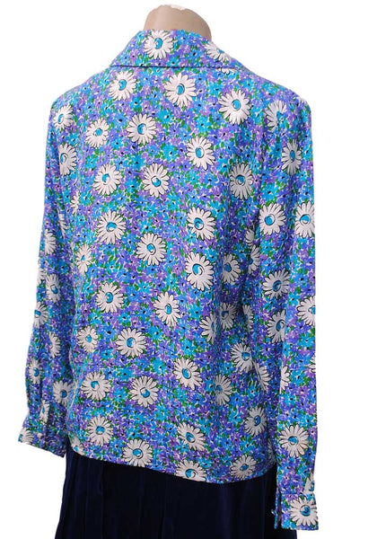 Vintage 60s Purple Turquoise Silk Daisy Print Blouse • Hand Made from 40s Pattern