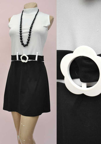 1990s Retro 60s Black & White Mod Mini Dress • Mod • Go-Go • Scooter Dress • Quant Style