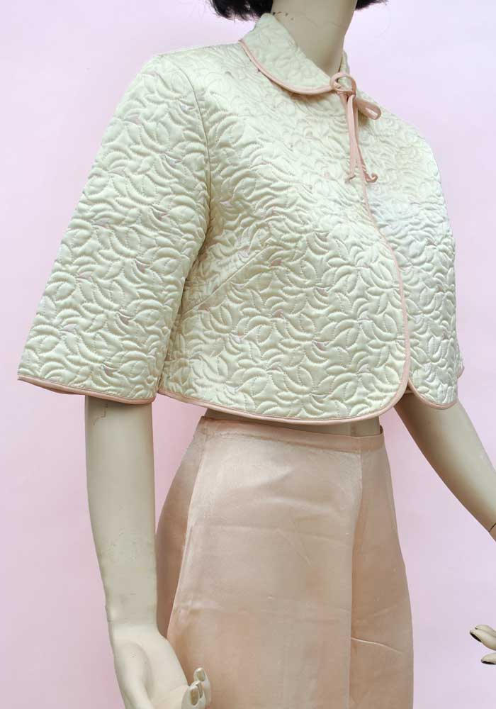 vintage 50s quilted sidroy rayon bedjacket