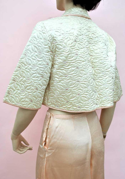 1950s Vintage Satin Rayon Quilted Bed Jacket • Boudoir Robe