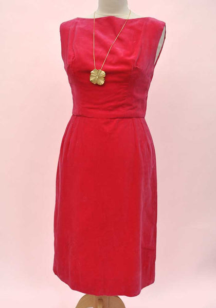 1960s vintage rasberry pink velvet shift dress