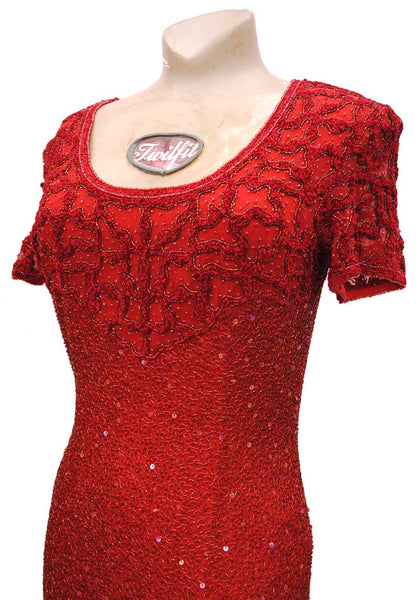 Vintage Style Red Beaded Evening Dress with Train • Frank Usher