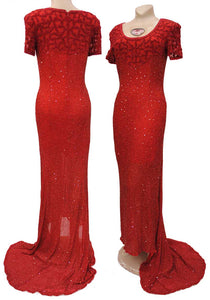 showtime, glamourous red beaded evening gown with train, very marylin monroe style