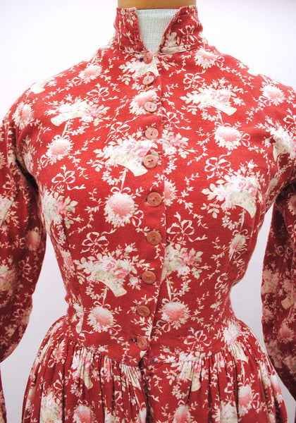 Antique Victorian Red Cotton Day Dress with Printed Cornucopia Pattern