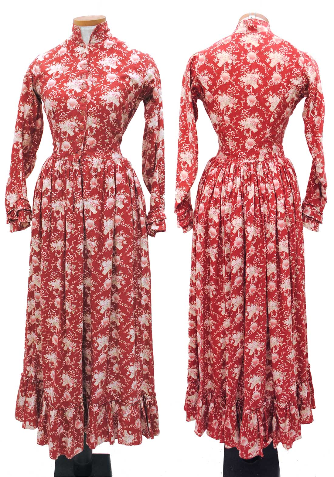 buy original victorian day dress, prairie dress in red cotton with a cornucopia pattern print