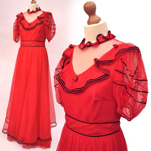 1980s Vintage Red Evening Prom Dress • Ball Gown