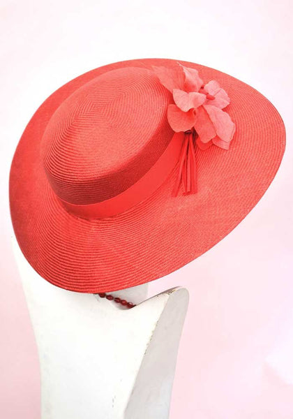 vintage red wide brim straw hat, wedding hat, ascot hat with hibiscus flower