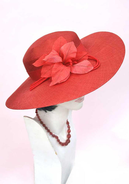 1960s Vintage Red Wide Brim Straw Hat • Hibiscus Flower • Wedding Hat • Occasion Hat