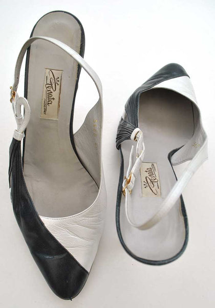 blue and white slingback sandals by renata