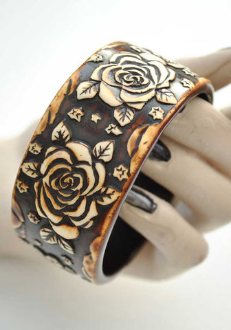 Painted Floral Carved Resin Bangle • Rose Bracelet • Modern