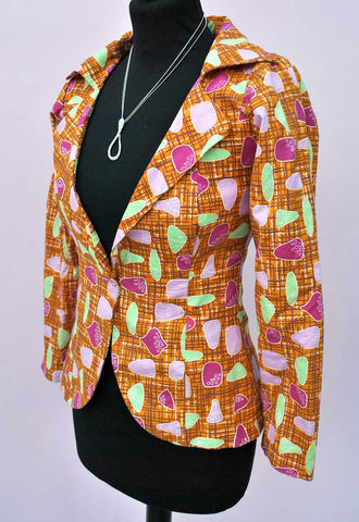 Women's Vintage 60s Retro Atomic Print Jacket • Orange