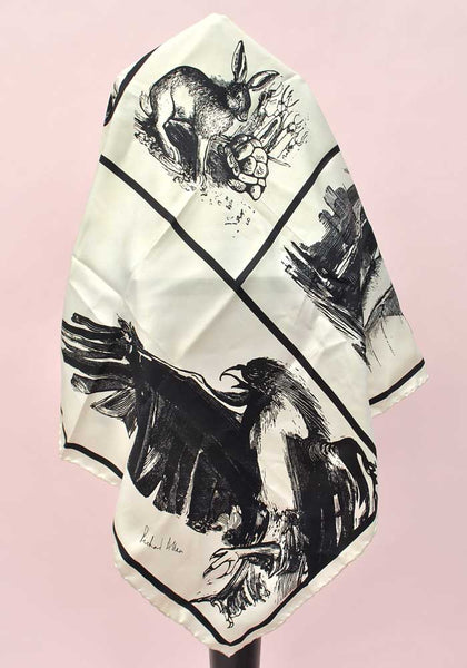 richard allan silk scarf raven, hare and fox