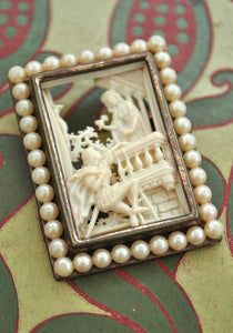 vintage romeo and juliet celluloid cutaway brooch