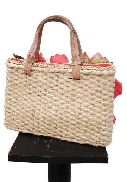 Vintage Retro Rose Flower Straw Hand Bag