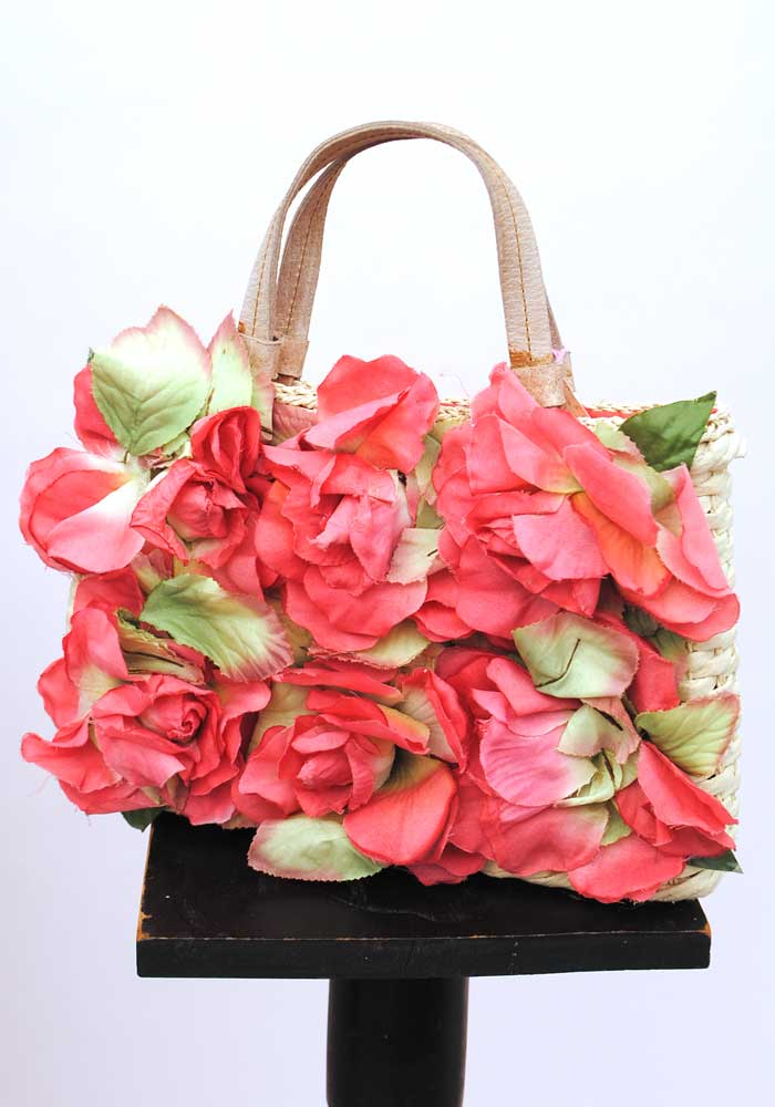 vintage retro rockabilly straw flower bag with red roses