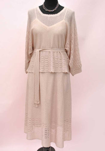 445905f063 1940s Vibe Vintage Blush Pink Silk Knit Set • Knitted Skirt Top Suit