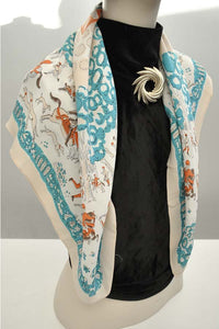 1930s crepe shawl scarf