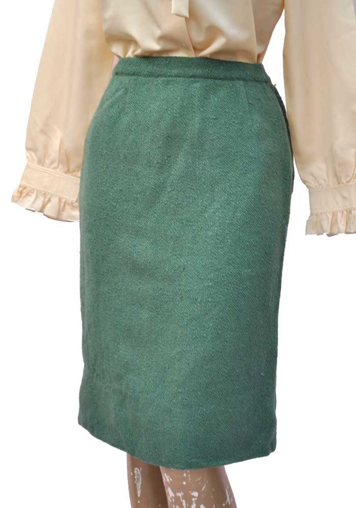 c63769ee5 ... Vintage 60s Sage Green Knobbly Wool Suit with Box Jacket and Pencil  Skirt • The Birds ...