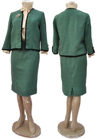 vintage 60s sage green suit, Tippi Hedren the Birds costume