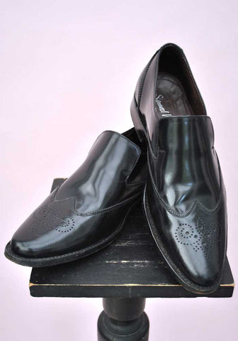 Men's Black Samuel Windsor Slip On Brogue Shoes • Size 8