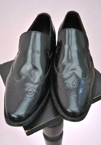 Black slip on brogue shoes by Samuel Windsor, smart casual shoes for men