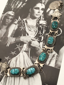 Egyptian revival scarab beetle link bracelet with pharoah and lotus flowers, silver and turquoise ceramic