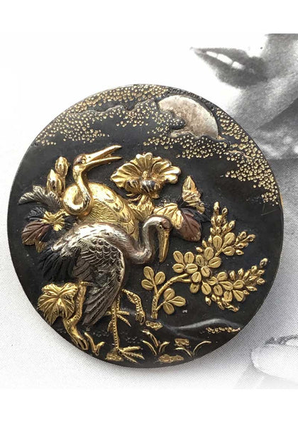 1800s Antique Japanese Shakudo Button Brooches • Wedding Cranes in Mixed Metals