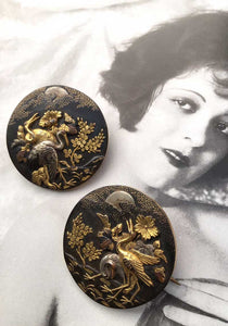 antique ceremonial shakudo wedding buttons brooches jewellery
