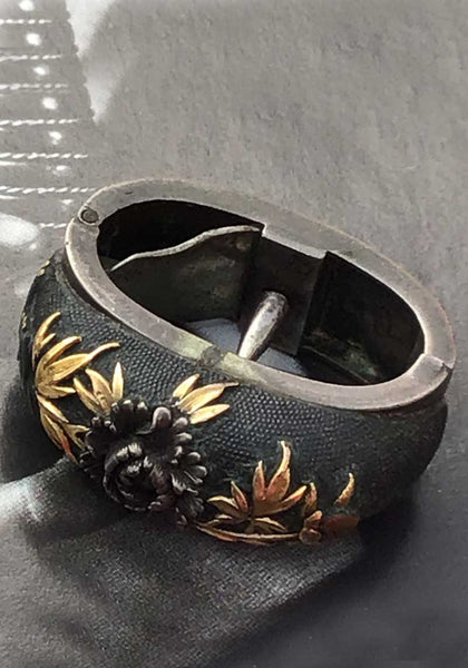 antique collectible ceremonial shakudo Fuchi Kashira