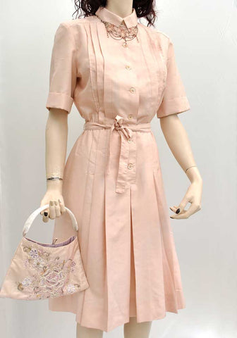 Vintage 70s Shell Pink Silk Shirt Waister Dress • Gérard Pasquier