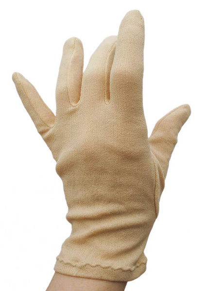 "1950s Vintage Beige Short Stretch Day Gloves • 3""-3.5"" Finger"